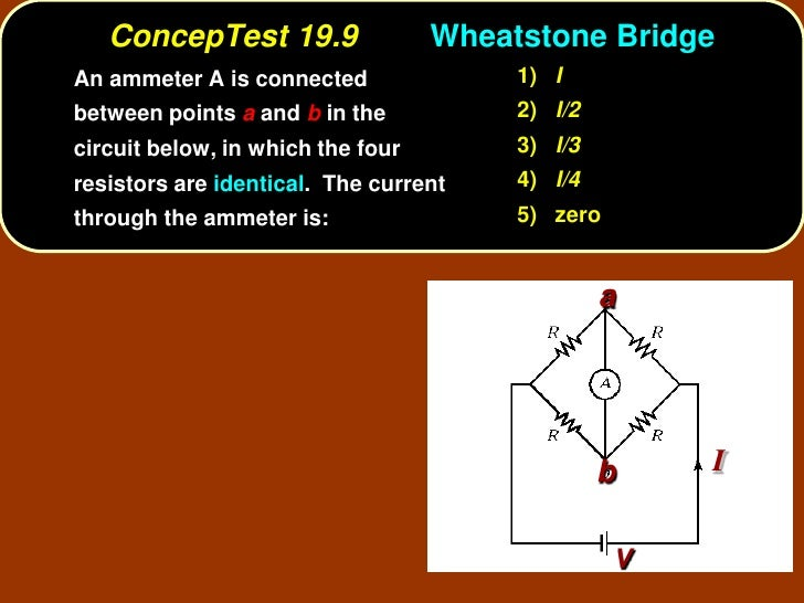 ConcepTest 19.9                 Wheatstone Bridge An ammeter A is connected               1) I between points a and b in t...