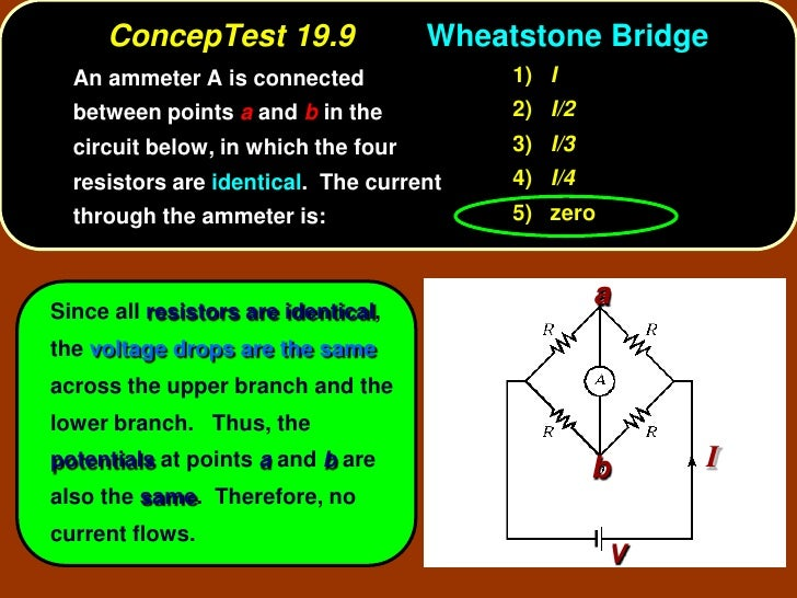 ConcepTest 19.9                 Wheatstone Bridge   An ammeter A is connected               1) I   between points a and b ...