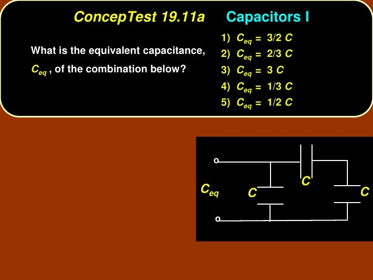 ConcepTest 19.11a                 Capacitors I                                           1) Ceq = 3/2 C What is the equiva...