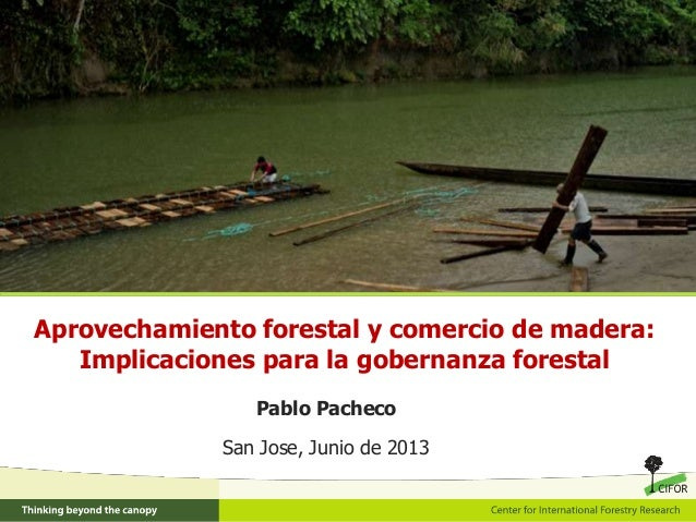 Aprovechamiento forestal y comercio de madera:Implicaciones para la gobernanza forestalPablo PachecoSan Jose, Junio de 2013