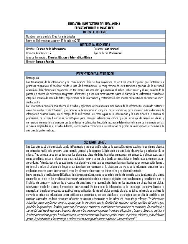 FUNDACIÓN UNIVERSITARIA DEL ÁREA ANDINA DEPARTAMENTO DE HUMANIDADES DATOS DEL DOCENTE Nombre: Fernando de la Cruz Naranjo ...