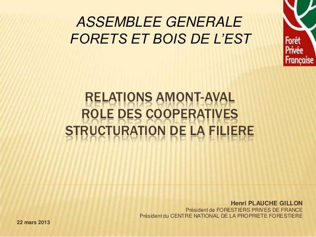 ASSEMBLEE GENERALE               FORETS ET BOIS DE L'EST                  RELATIONS AMONT-AVAL                 ROLE DES CO...
