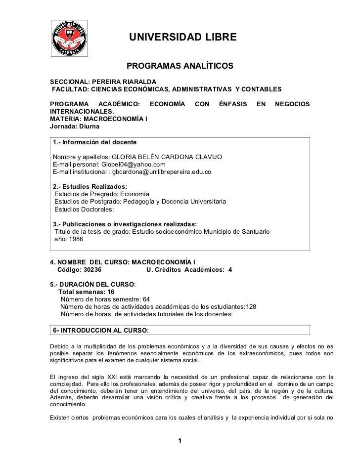 UNIVERSIDAD LIBRE                            PROGRAMAS ANALÍTICOSSECCIONAL: PEREIRA RIARALDAFACULTAD: CIENCIAS ECONÓMICAS,...