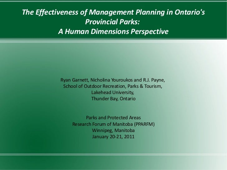 The Effectiveness of Management Planning in Ontarios                   Provincial Parks:            A Human Dimensions Per...