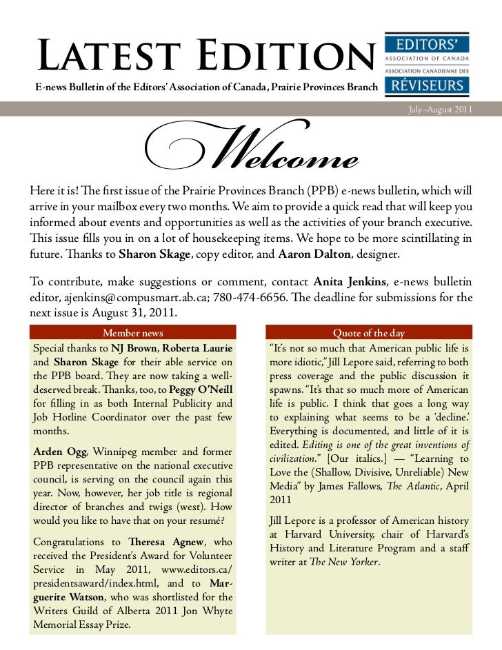 Latest Edition E-news Bulletin of the Editors' Association of Canada, Prairie Provinces Branch                          We...