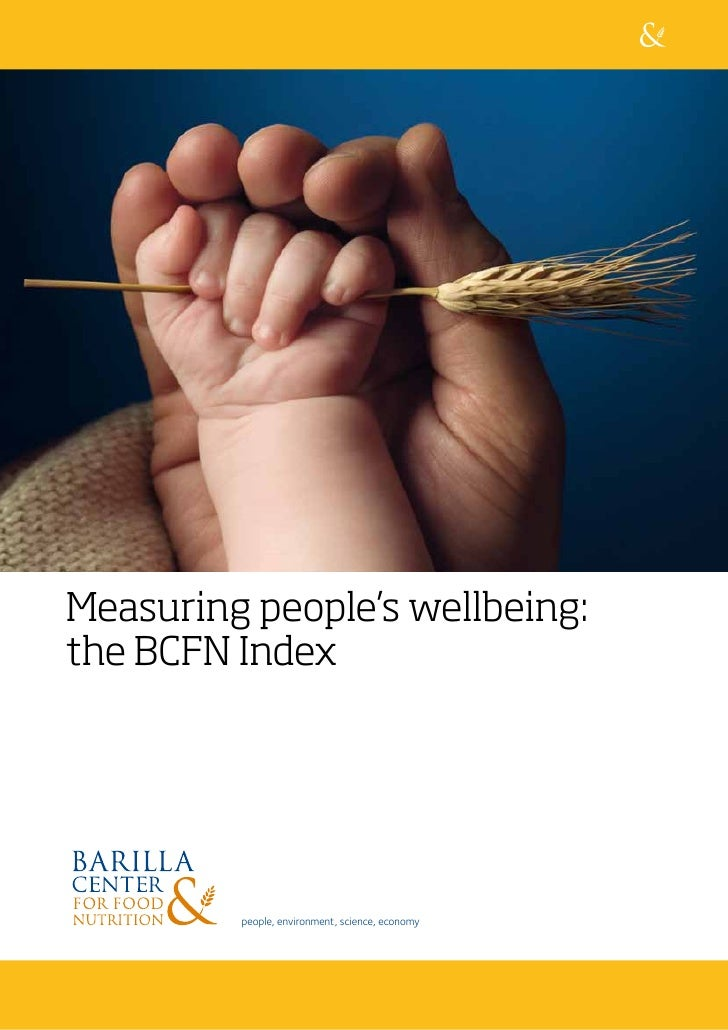 Measuring people's wellbeing: the BCFN Index              people, environment, science, economy