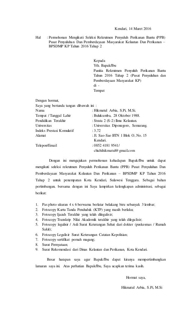 Surat Lamaran Ppb Tahap 2