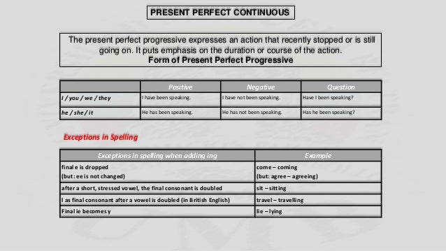 The present perfect progressive expresses an action that recently stopped or is still going on. It puts emphasis on the du...