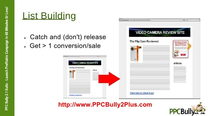List Building  ●   Catch and (don't) release  ●   Get > 1 conversion/sale  http://www.PPCBully2Plus.com