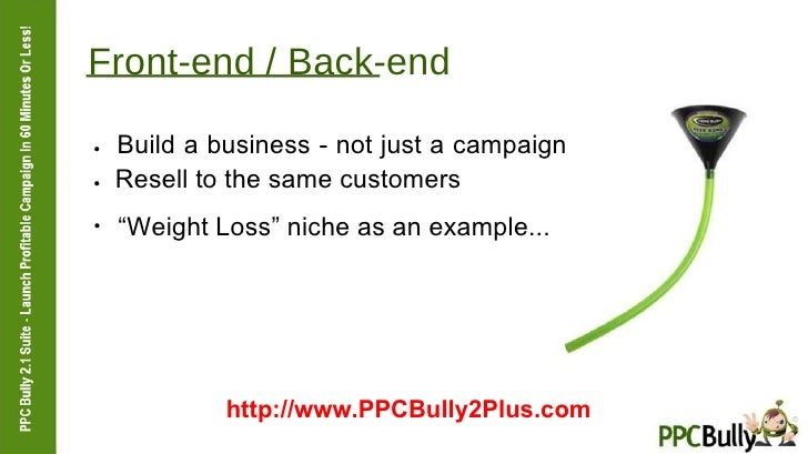 """Front-end / Back-end  ●   Build a business - not just a campaign  ●   Resell to the same customers  ●  """" Weight Loss"""" nich..."""