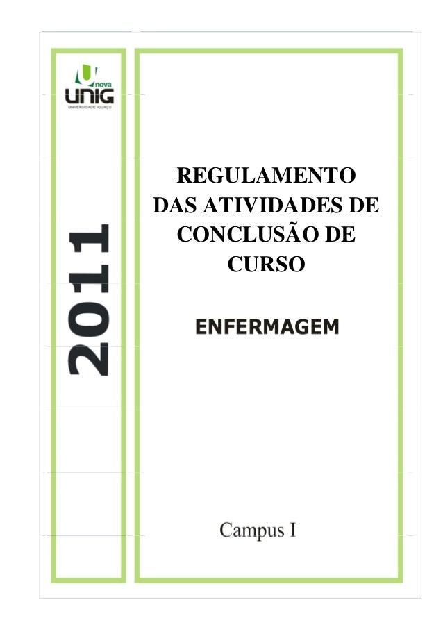 REGULAMENTO DAS ATIVIDADES DE CONCLUSÃO DE CURSO