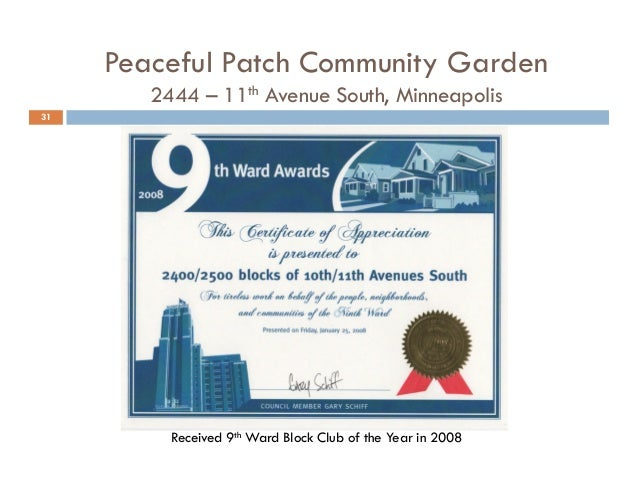 Peaceful Patch Community Garden Tour - 11th Ave Block Club