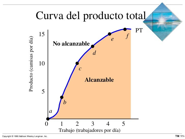 Curva del producto total  Alcanzable 0  1  2  3  4  5 Trabajo (trabajadores por día) 5 10 15 No alcanzable Producto (camis...