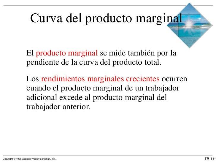 Curva del producto marginal  <ul><li>El  producto marginal  se mide también por la pendiente de la curva del producto tota...