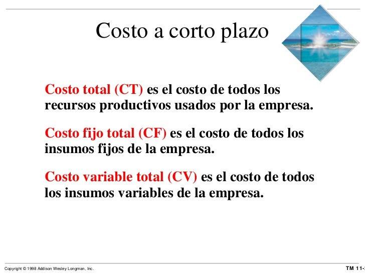 Costo a corto plazo <ul><li>Costo total (CT)  es el costo de todos los recursos productivos usados por la empresa. </li></...