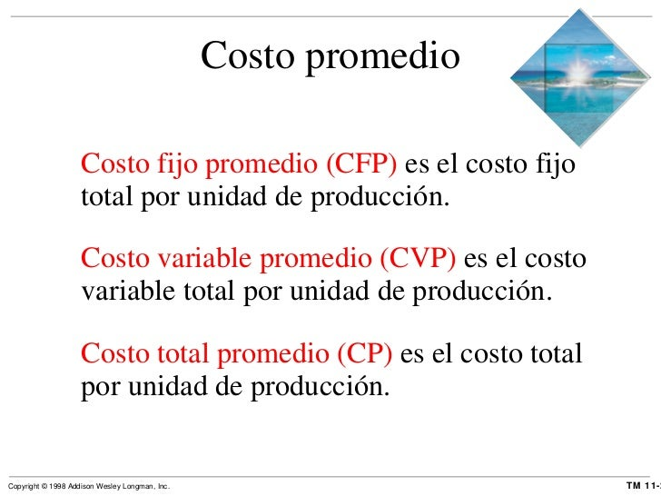 Costo promedio <ul><li>Costo fijo promedio (CFP)  es el costo fijo total por unidad de producción. </li></ul><ul><li>Costo...