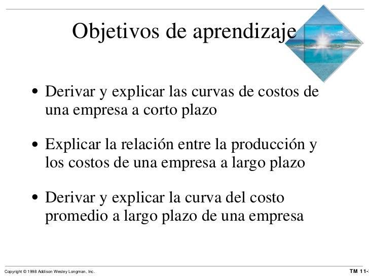 Objetivos de aprendizaje <ul><li>Derivar y explicar las curvas de costos de una empresa a corto plazo </li></ul><ul><li>Ex...
