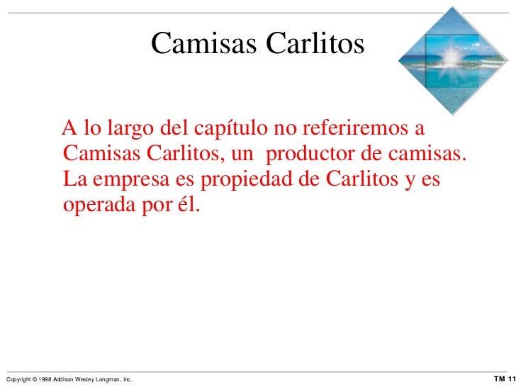 Camisas Carlitos <ul><li>A lo largo del capítulo no referiremos a Camisas Carlitos, un  productor de camisas. La empresa e...