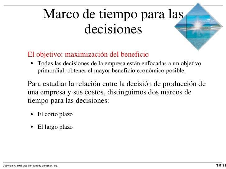 Marco de tiempo para las decisiones <ul><li>El objetivo: maximización del beneficio </li></ul><ul><ul><li>Todas las decisi...