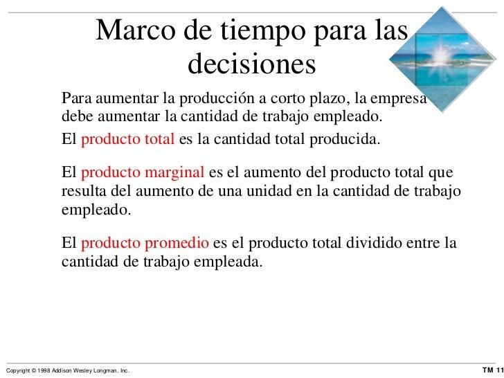 Marco de tiempo para las decisiones <ul><li>Para aumentar la producción a corto plazo, la empresa debe aumentar la cantida...