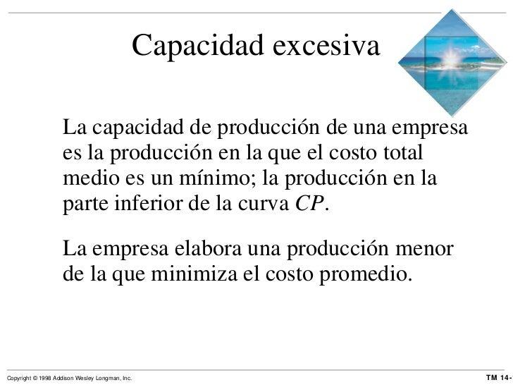 Capacidad excesiva <ul><li>La capacidad de producción de una empresa es la producción en la que el costo total medio es un...