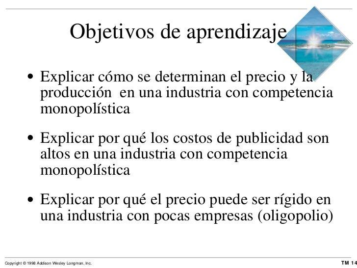 Objetivos de aprendizaje <ul><li>Explicar cómo se determinan el precio y la producción  en una industria con competencia m...