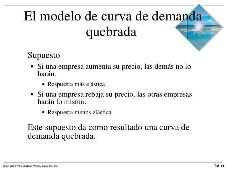 El modelo de curva de demanda quebrada  <ul><li>Supuesto </li></ul><ul><ul><li>Si una empresa aumenta su precio, las demás...