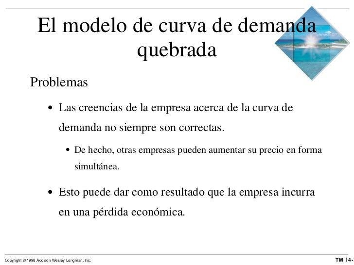 El modelo de curva de demanda quebrada <ul><li>Problemas </li></ul><ul><ul><li>Las creencias de la empresa acerca de la cu...