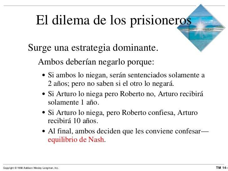 El dilema de los prisioneros <ul><li>Surge una estrategia dominante. </li></ul><ul><ul><li>Ambos deberían negarlo porque: ...