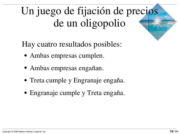Un juego de fijación de precios de un oligopolio <ul><li>Hay cuatro resultados posibles: </li></ul><ul><ul><li>Ambas empre...