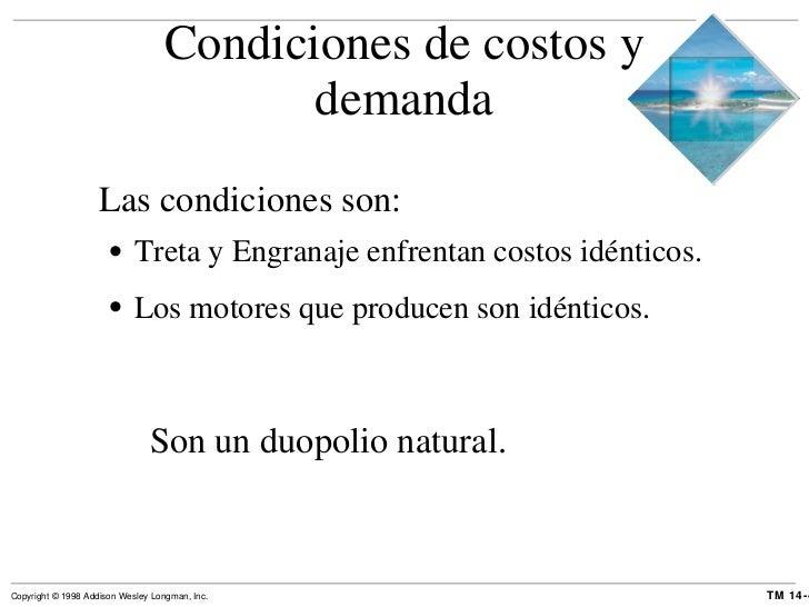 Condiciones de costos y demanda <ul><li>Las condiciones son: </li></ul><ul><ul><li>Treta y Engranaje enfrentan costos idén...