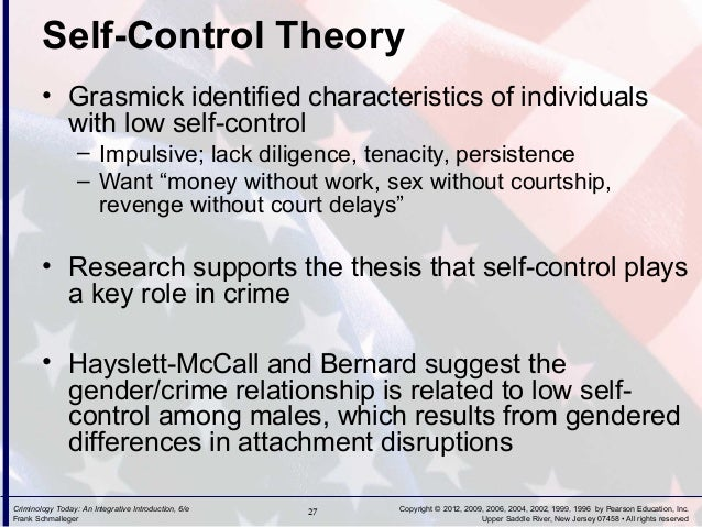 self control theory Self-control separates us from our ancient ancestors and the rest of the animal kingdom, thanks to our large prefrontal cortex it is the ability to subdue our impulses in order to achieve longer-term goals rather than responding to immediate impulses, we can plan, evaluate alternative actions, and, often enough, avoid doing things we'll later.