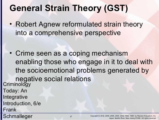 general strain theory General strain theory (gst) is a theory of criminology developed by robert  agnew general strain theory has gained a significant amount of academic  attention.