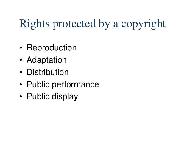 copyright law Copyright Logo Right 6 copyright protects property; 7 7 rights