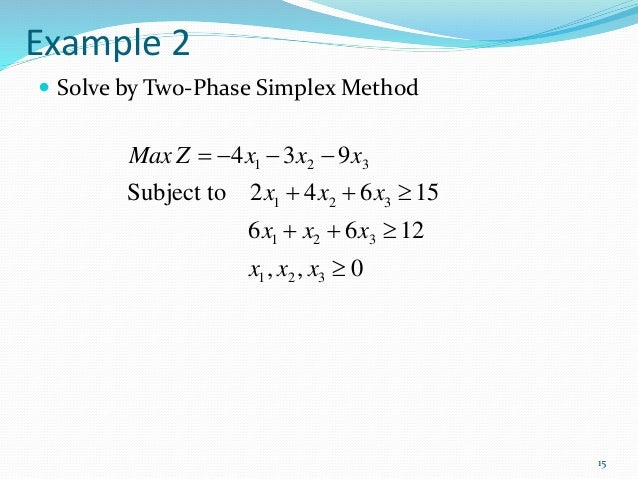 TWO PHASE METHOD EXAMPLE PDF