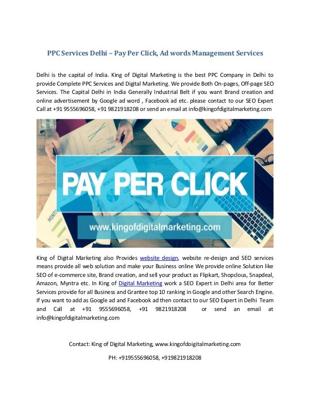 PPC Services Delhi – Pay Per Click, Ad words Management Services Delhi is the capital of India. King of Digital Marketing ...