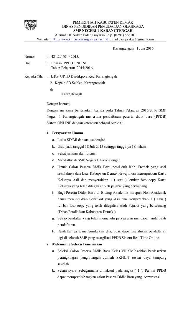Surat Edaran Ppdb Di Smp N 1 Karangtengah