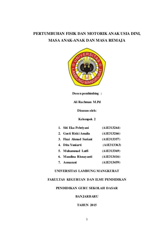 1 PERTUMBUHAN FISIK DAN MOTORIK ANAK USIA DINI, MASA ANAK-ANAK DAN MASA REMAJA Dosen pembimbing : Ali Rachman M.Pd Disusun...