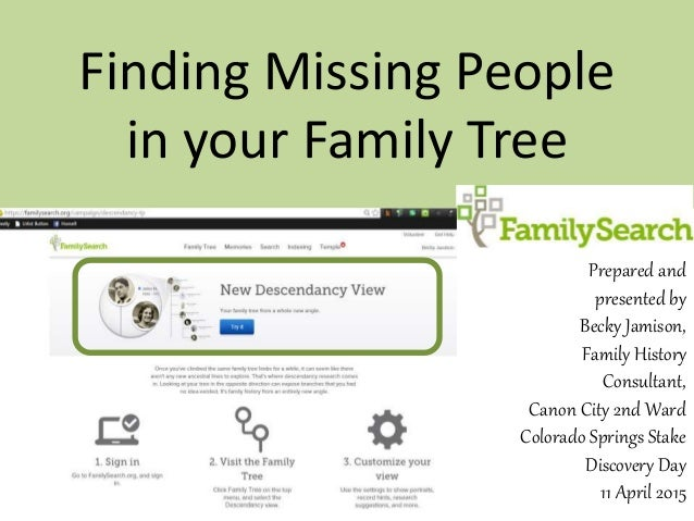 Finding Missing People in your Family Tree Prepared and presented by Becky Jamison, Family History Consultant, Canon City ...