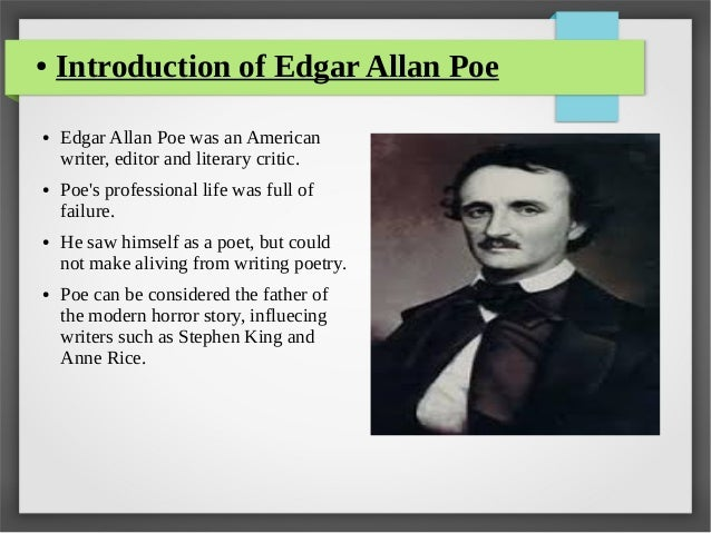 a discussion of gothic elements in edgar allan poes works A famous artists known for this type of writing is a man named edgar allan poe he wrote many short stories and poems that include horror, gothic, and romance just mentioned gothic tradition was said to have started in europe.