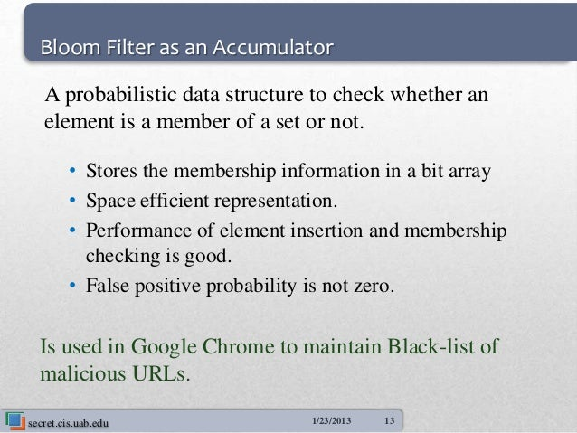Bloom Filter as an Accumulator   A probabilistic data structure to check whether an   element is a member of a set or not....