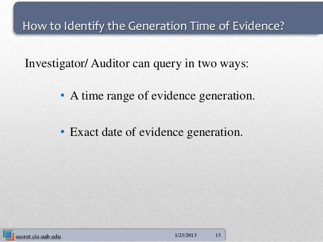 How to Identify the Generation Time of Evidence?   Investigator/ Auditor can query in two ways:                 • A time r...