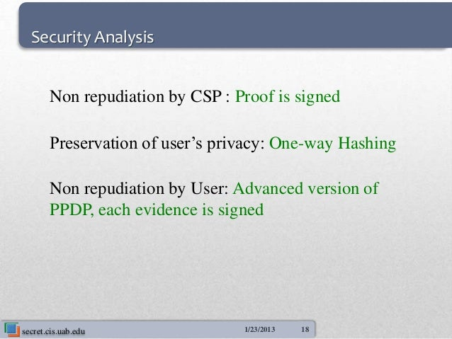 Security Analysis       Non repudiation by CSP : Proof is signed       Preservation of user's privacy: One-way Hashing    ...