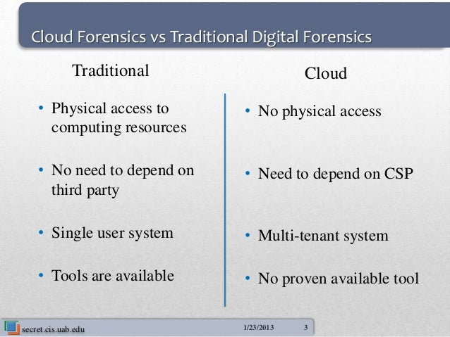 Cloud Forensics vs Traditional Digital Forensics              Traditional                  Cloud    • Physical access to  ...