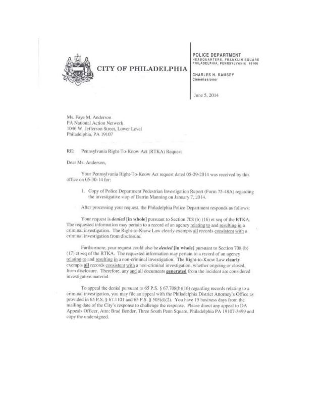 Philadelphia Police Department's Response to RTK Request