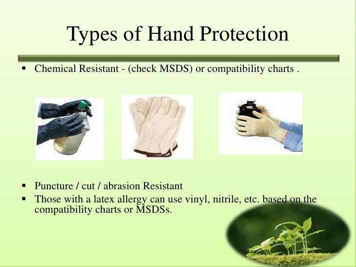 Types of Hand Protection Chemical Resistant - (check MSDS) or compatibility charts . Puncture / cut / abrasion Resistant...