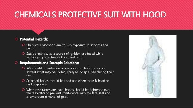 CHEMICALS PROTECTIVE SUIT WITH HOOD  Potential Hazards:  Chemical absorption due to skin exposure to solvents and paints...