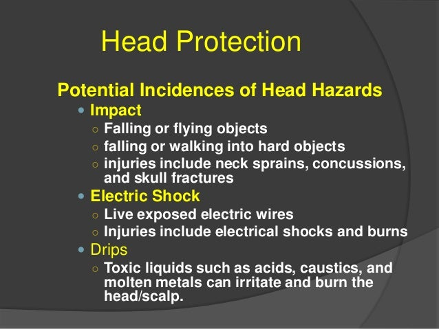 Head Protection Elimination or Control of Hazards  Safe Work Practices  Grounded equipment/shock resistant tools  Signs...