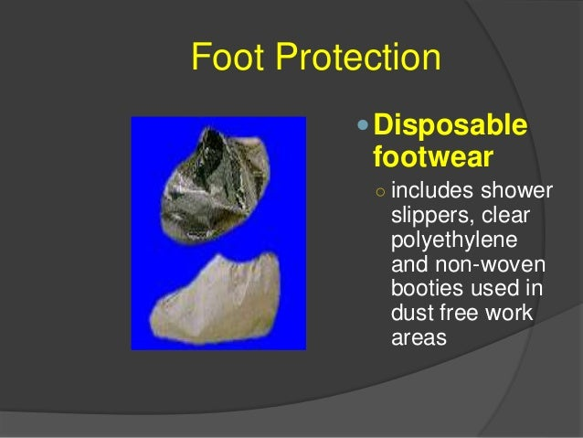 Foot Protection  Employee ran over foot with lawn mower  Notice the damage to the shoe  The steel toe insert is lying i...