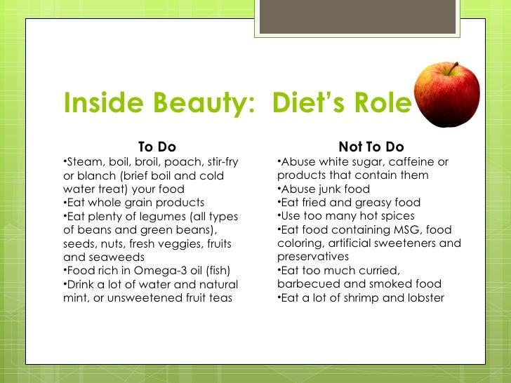 Inside Beauty:  Diet's Role <ul><li>To Do </li></ul><ul><li>Steam, boil, broil, poach, stir-fry or blanch (brief boil and ...